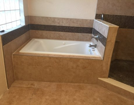 Bathroom Remodeling for New Tub and Custom Tilework